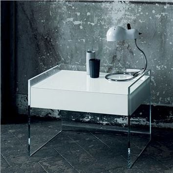 Glas Italia Float Glass Night Stand - Style # FLO02, Modern Bedside Tables & Nightstands | End Tables | Contemporary Small Bedside Table | SwitchModern.com