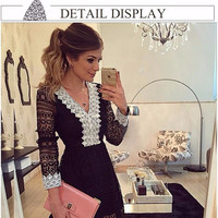 2016 new fashion women dress a-line sexy black lace dress casual hollow out long sleeve mini Dess