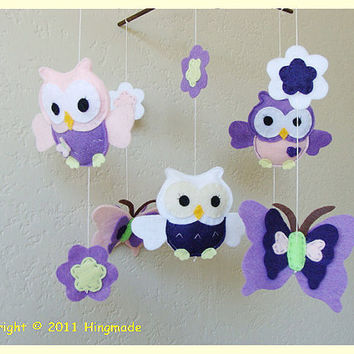 Felt Baby Crib Mobile Owl family play with by hingmade on Etsy