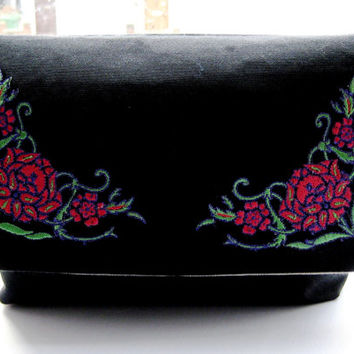 Black embroidered clutch purse, clutch bag, evening bag, wedding purse with coral red, purple and apple green Art Nouveau style flowers,