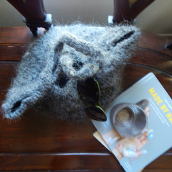 "Vintage Grey Wool Basket Bag, Wool Bag,  13"" x 10"" eco friendly"