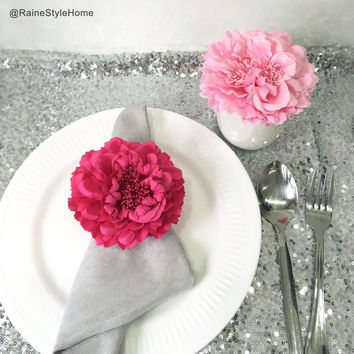 12 Pieces Set.Fabulous Artificial Fuchsia And Light Pink Large Peonies Floral Napkin Holders. Hot Pink Bridal Shower Wedding Table Decor
