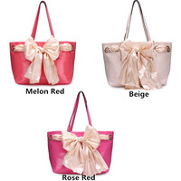 Women Leather Silk Scarf Handbag Shoulder Bag