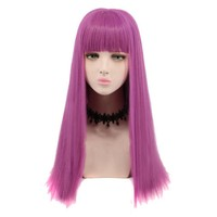 Cosplay Wig Long Purple Adult Women Fashion Costume Party Wig