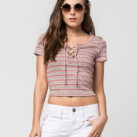 FULL TILT Textured Stripe Lace Up Womens Top | Knit Tops & Tees