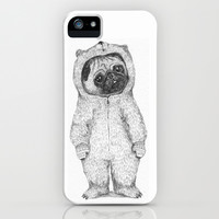 Winter pug iPhone & iPod Case by Maria Elina