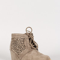 Perforated Lace Up Wedge Bootie