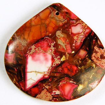 1 Pc - 40x40x6mm Sea Sediment Jasper And Copper Bornite Pendant - Focal Pendant - Gemstone Pendant - Jewelry Supplies