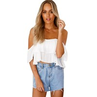 Chiffon White Blouse blusa Pullover Shirt Off Shoulder Top