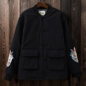 Johnature Embroidery Vintage Winter Jackets Women Pockets Button 2018 New Button Chinese Style Cotton Linen Warm Jackets Coats
