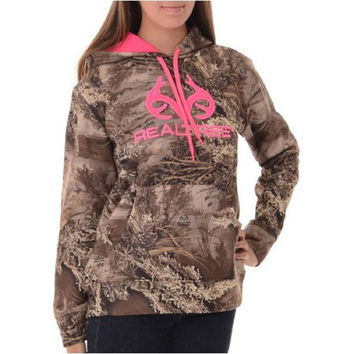 RealTree Girl's Camo Performance Pullover Fleece Hoodie, Large, RealTree Max1XT