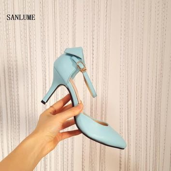 2017 Top quality summer Thin heel women fashion pumps sexy Blue Sky Wedding party shoes Rubber sole pointed toe  35-39