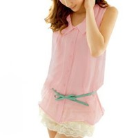 Women Button Closure Doll Collar Sleeveless Summer Shirt Pink S