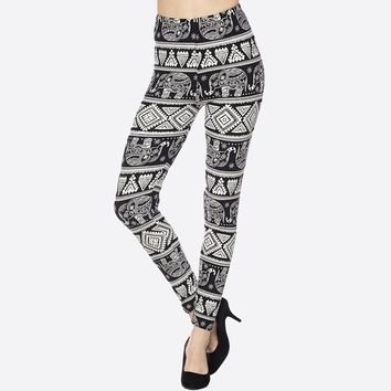 "Abstract Black Elephant Diamonds Print Peach Skin 1"" Waist Band Soft Brush Leggings"