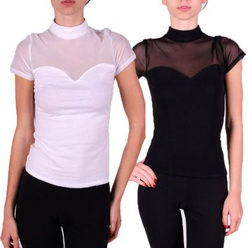 Sexy Sweetheart Neckline Mock Neck Mesh Yoke Top