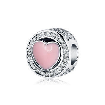 Fits Original Pandora Charms Bracelet 925 Silver Beads Jewelry Making With Pink Enamel Heart 2017 Valentine's Day Gift Berloque