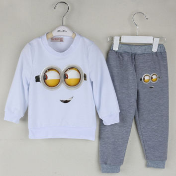 Baby Boy Cartoon Minions prints suits / 2pcs T shirt+pants