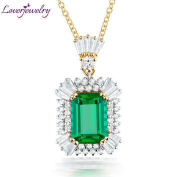 Solid 18Kt Two Tone White Yellow Gold Natural Baguette Diamond Green Emerald Pendant Necklace