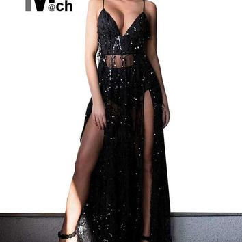 Beach Style Sexy Maxi Dress Set Off Shoulder Straps Long Side Slits Sequined Fringed Dress with Under Brief DR08588C
