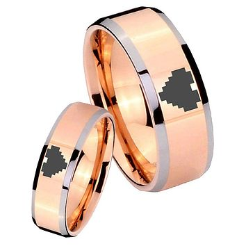 His Hers Rose Gold Beveled Zelda Heart 2 Tone Tungsten Wedding Rings Set