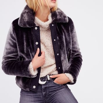 Free People Cropped Plush Fur Jacket