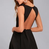 Party Hop Black Backless Skater Dress