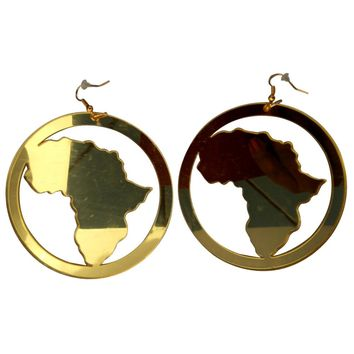 Map of Africa Hoop Earrings (gold mirror style) | Africa shaped earrings | African earrings | Natural hair earrings | Afrocentric earrings | jewelry | accessories