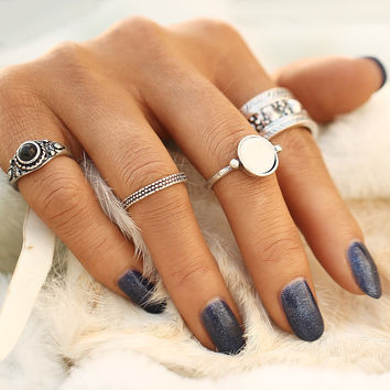 4pcs/Set Vintage New Punk Brinco Ring Set Hollow Antique Silver Color Lucky Midi Rings for Women 2017 Boho Jewelry Knuckle bague  0527