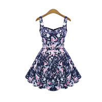 Blue Floral Print Sleeveless Sweetheart Neckline Skater Dress