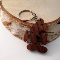Wooden Mickey Mouse Keychain, Walnut Wood, Cartoon Keychain, Environmental Friendly Green materials