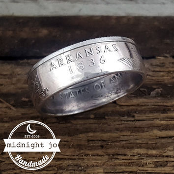 Arkansas 90% Silver State Quarter Coin Ring