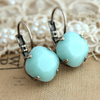 Mint green seafoam Crystal leverback earring - oxidized silver earrings real swarovski rhinestones .