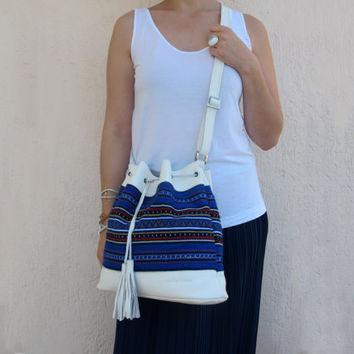 Summer Shoulder bucket bag handmade of white leather and traditional woven fabric in blue Crete-SB 01W NEW