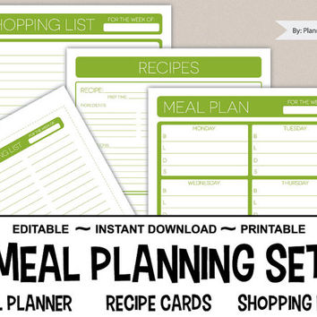 Weekly Meal Planner Printable - Recipe Cards, Shopping List, Menu Plan – 8.5 x 11 Editable PDF – Menu Planning INSTANT DOWNLOAD – Lime Green