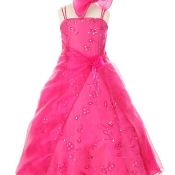 Cinderella Couture USA Fuchsia Embroidery Dress with Scarf