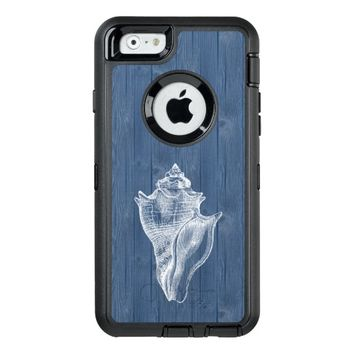 Sea Shell White Vintage Blue Wood Phone Case OtterBox iPhone 6/6s Case