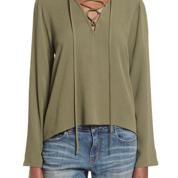 Painted Threads Lace Up Top | Nordstrom
