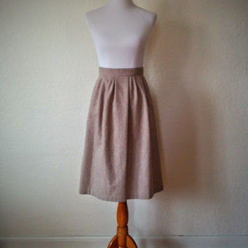 Vintage 80's Wool Skirt Beige with Pleating and Pockets