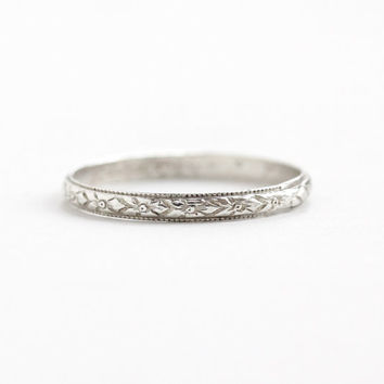 Antique Art Deco Sterling Silver Orange Blossom Ring - Vintage Size 8 1/4 Flower Milgrain Eternity Wedding Band Forget Me Not Jewelry, Uncas