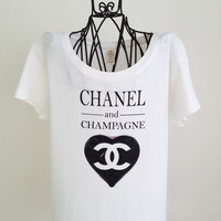 WHITE CHANEL INSPIRED ROUND NECK COTTON T SHIRT! FASHIONISTA MUST HAVE!