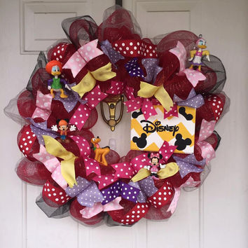 Disney Wreath, Deco Mesh Wreath, Ribbon, Polka Dots, Clubhouse Wreath, Minnie Mouse Wreath, Mickie Mouse Wreath