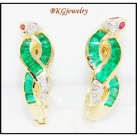 Diamond Jewelry 18K Yellow Gold Emerald Snake Earrings [E0061]