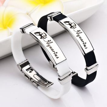 12 Constellations stainless steel Bracelets rubber Charm Casual Personality Bracelets & Bangles