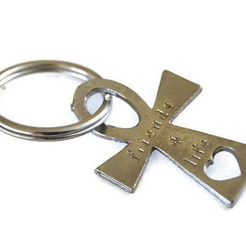 Friends for Life Cross Keychain Pewter Friendship Key Chain Dark Silver Christian Catholic Religious Gift  Best Friend Metal Keyring