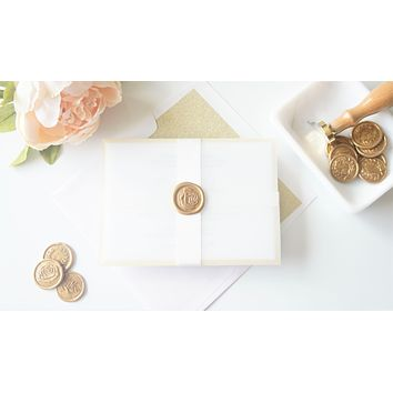 Gold Vellum and Wax Seal Wedding Invitation - DEPOSIT