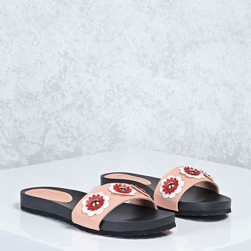 Floral Faux Leather Sandals
