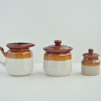 Vintage Cream and Sugar Set - Brown Ombre Containers - Ceramic Pitcher and Canisters