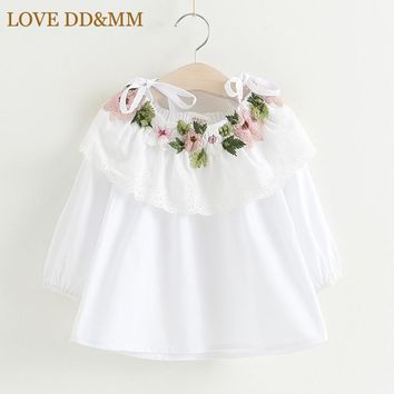 Girl Flower Embroidery Long Sleeve Tie Strapless White Shirt