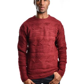 "Bellfield ""Kennet"" 3D Jacquard Jumper - Port Wine"
