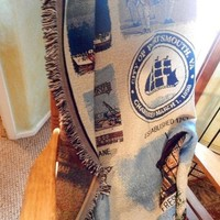 Blanket City of Portsmouth Virginia Historic Sights Woven Tapestry Afghan 70 x 54 Vintage Throw Military Navy Americana Home Decor